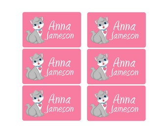 95ct Stick On Clothing Name Labels, Kids Clothing Labels, Personalized Uniform Name Labels, Baby Clothing Kitty, Washable Clothing Labels