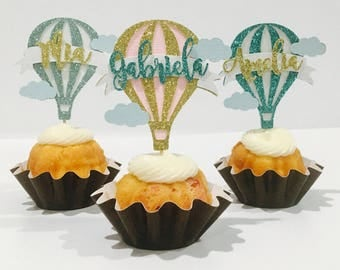 Personalized hot air balloon cupcake topper, hot air balloon cupcake topper, baby girl topper, Gender cupcake  topper, Baby shower cupcake t