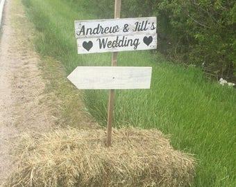 SUMMER SALE wedding direction signs - directional wedding sign - directional wedding signage - distressed wedding signs - country wedding de