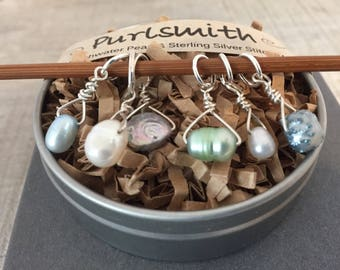 Silvery Blues Mix Freshwater Pearl & Sterling Silver Stitch Markers for Knitting,Set of 6,Knitting Notions, Gift for Knitter