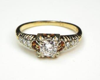 Antique Diamond Ring Vintage European Cut Diamond Engagement Ring Pre-Engagement Ring Promise Ring Gold Diamond Ring Engagement
