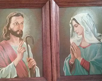 Vintage Jesus and Mary Paint by Number Paintings Beautiful 1960 Framed