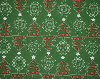 Green Christmas Tree Fabric, Green Christmas Fabric, Christmas Quilting Fabric, Vintage Quilting Fabric, Vintage Fabric, Holly Fabric