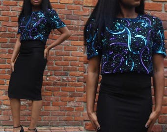 Black Multi-colored Sequin T-shirt Blouse,party outfit, date night outfit, sparkling T-shirt, vintage, retro, medium
