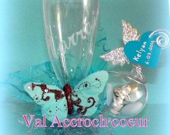 champagne glass personalized with engraving and decoration