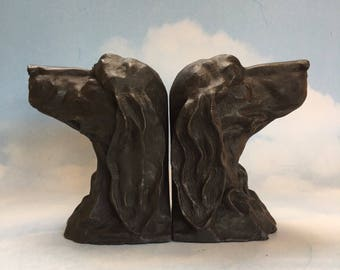 Pair of Large Bronze Retriever Dog Vintage Bookends figures figurines