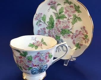 Royal Albert Hawthorne Flower of the Month Bone China Tea Cup and Saucer England