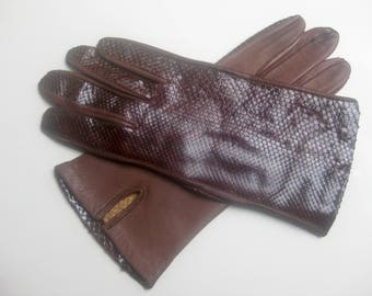 old croco leather gloves
