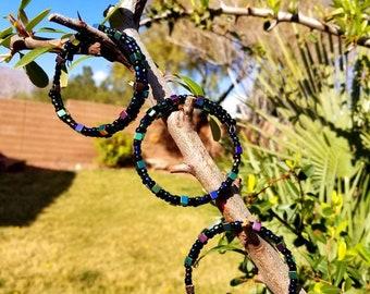 Titanium cube memory wire bracelets