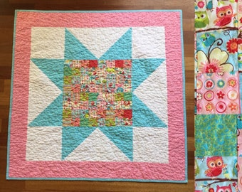 "Baby girl star quilt with owl patchwork  baby blanket  play mat  40"" x 40""  turquoise and pink"