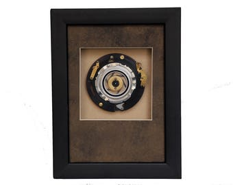Vintage Camera Parts  Assemblage Design, Framed, Abstract Art, Photo Gift, Black Brass Silver, Rings, Handmade for Photographers and Fans
