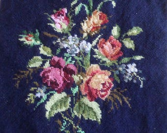 Square Vintage French Completed Wool Needlework Tapestry Roses and Floral.