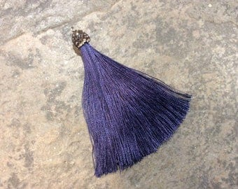 Navy blue tassel pendants with decorative beaded silver cap Beautiful tassels for Jewelry Making