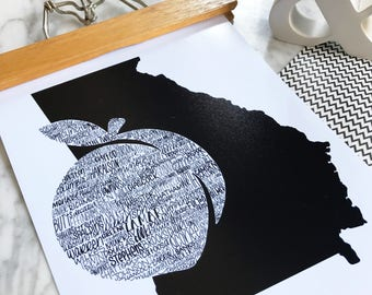 Georgia Peach, Georgia Print, Illustration, State Map, State Counties, Screenprinting