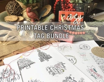 PRINTABLE CHRISTMAS TAGS, 13 Holiday Tags, Bundle, Santa Claus, Christmas, Calligraphy,  Hand Lettered, Digital Download, Instant Download