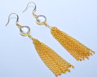 Crystal Quartz Gold Chain Tassel Earrings