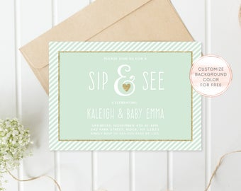 Sip and See Baby Shower Invitation, Sip and See Invite, Meet the Baby, Invite, Baby Shower, Printable, Baby Shower, Boy, Girl, Baby [664]