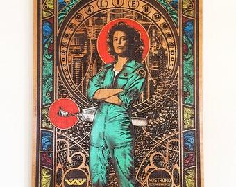 Ellen Ripley, Art Nouveau Print, Art Deco Poster, Art Deco Print on Wood, Alien Xenomorph, HR Giger, Nostromo, Art Nouveau Poster