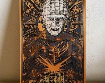 Pinhead - Hellraiser Horror Movie, Classic Horror Movie, Pinhead Art Print on Wood, Horror Art, Man Cave Art Decor, Best Gift Idea Him