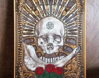 Skull Art Print - Skull and Roses - Skull Artwork - Skull Bones - Goth Gothic Home Decor Wall Art Skull - Laser Engraving Wood,Hand Painting