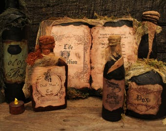 Hocus Pocus Spell Book and Potion Bottle Set, Halloween Decor, Halloween Decorations, Halloween Prop, Sanderson Sisters, Life Potion