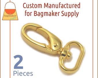 3/4 Inch Shiny Gold Oval Gate Swivel Snap Hook, 2 Piece Pack, Purse Clips, Handbag Bag Making Hardware Supplies, SNP-AA148 New Item