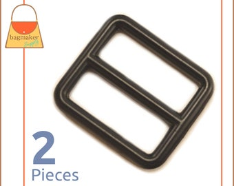 "1 Inch Slide for Purse Straps, Metal, Black Finish, 2 Pieces, Handbag Purse Bag Making Hardware Supplies, 1"", One Inch, BKS-AA017"