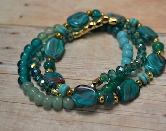 Green Turquoise Blue beaded stretch bracelet set