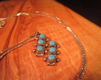 Tribal Sterling Silver Turquoise Necklace