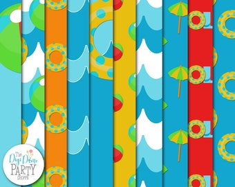Pool Party Digital Scrapbooking Paper Pack, Buy 2 Get 1 FREE. Instant Download