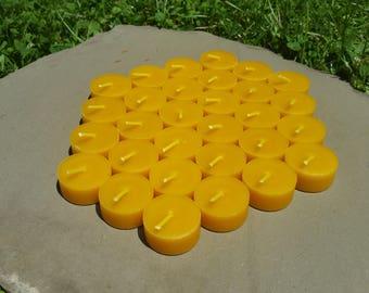 100% Beeswax Tealight Candles - 30 Tealight REFILLS - Free Ship!