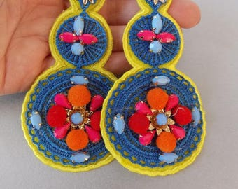 Multi-Coloured Embroidered Jewelled Statement Earrings