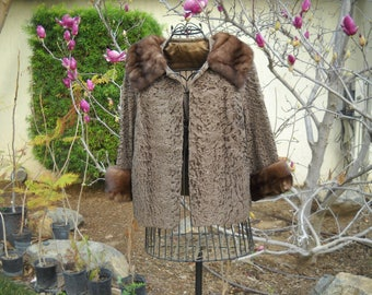 Chocolate Brown Sheared Astrakan, Persian Lamb Coat with plush Mink collar and Cuffs in size small to Medium with velvet lined pockets