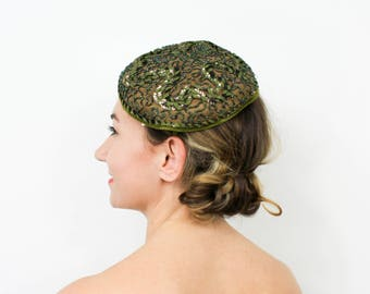 50s Olive Green Fascinator   Green Satin Beaded Tilt Hat   Amy New York