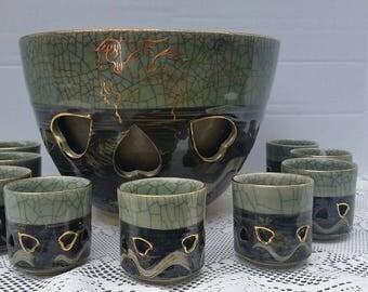 Vintage Soma Ware Hashirigoma  Bowl with 9 Cups