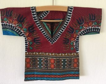 African Wax Bordeaux Dashiki for Babies - 12 Months