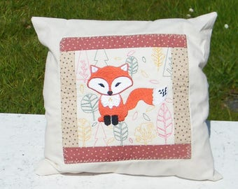 "Embroidered Fox Cushion - 12"" Cotton"