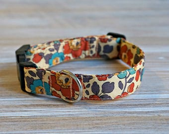 Orange Dog Collar - Floral Adjustable Dog Collar - Liberty of London Fabric Dog Collar Side Release