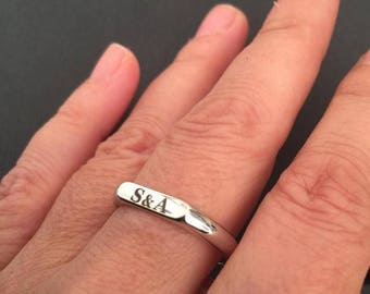 Engraved ring, Personalized Ring, women ring, Initial ring, Gift for mom, gold names stackable rings for mom