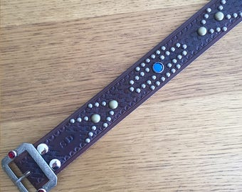 "Black Leather rockabilly studded western belt ""indian"""