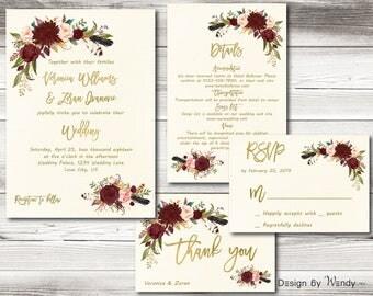 Marsala wedding invitation rose gold font printable burgundy wedding invitation suite floral boho bohemian gold wedding invite set