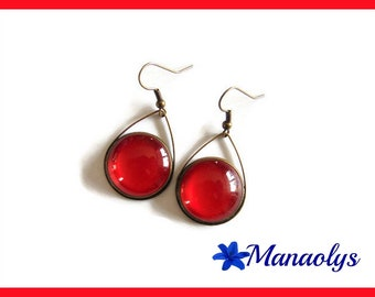 Earrings drops and red glass cabochons