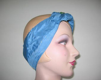 Vintage Cerulean Blue Silk Satin Headband!
