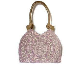 Purple tapestry tote bag, tapestry shoulder bag, mandala purse, roomy shoulder bag, everyday bag, tapestry handbag, romantic tote bag,