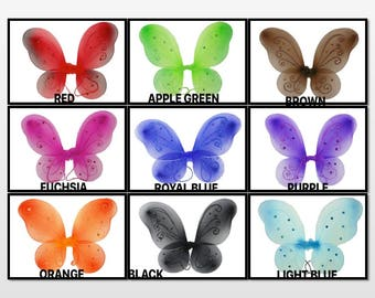 """Set of 10  (19"""" x 14"""")  Butterfly Fairy Costume WINGS CHOOSE Color 19"""" by 14"""" Bulk Buy !!!"""