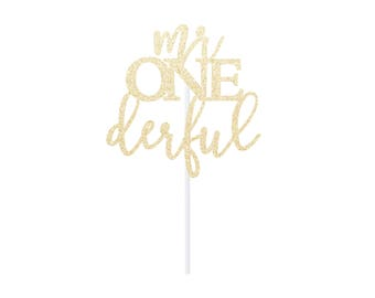 mr onederful Cake Topper - Any Color Glitter ONEderful Topper