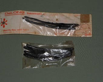2 Vintage DeLong Black Earthworms & 4 pack of Small Black Worms | Delong Fishing Lures | Fishing Gear Bait Supply | Dad Men Gift