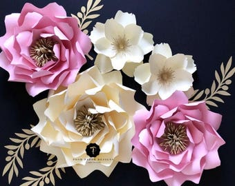 Wedding paper flowers, Nursery wall decor.