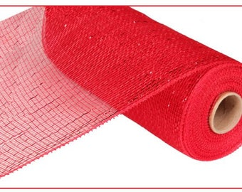 """10"""" Red Metallic Deco RE130124, Red Deco Mesh, Red Metallic Deco Poly Mesh, Wreath Supplies (10 Yards) - RE130124"""