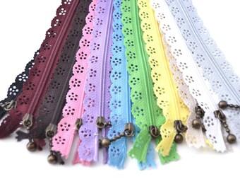 Set of 11 lace zipper 20cm / LFD01